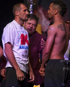 The intensity of the Ward-Kovalev weigh-in and stare-down was so palpable that the fighters had to be separated. – Photo: Malaika Kambon