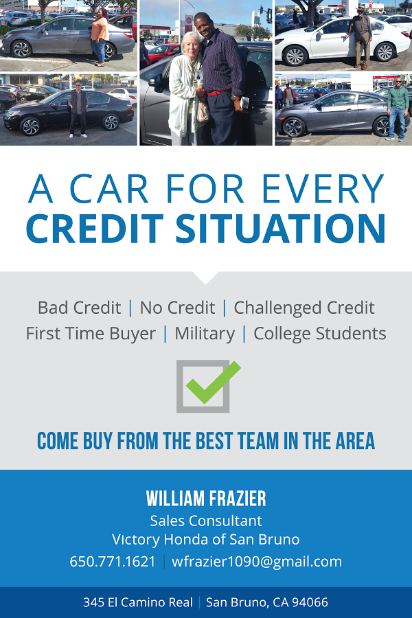 Frazier-0117, William Frazier of Victory Honda has a car for you, no matter your credit situation, Opportunities Professional Services