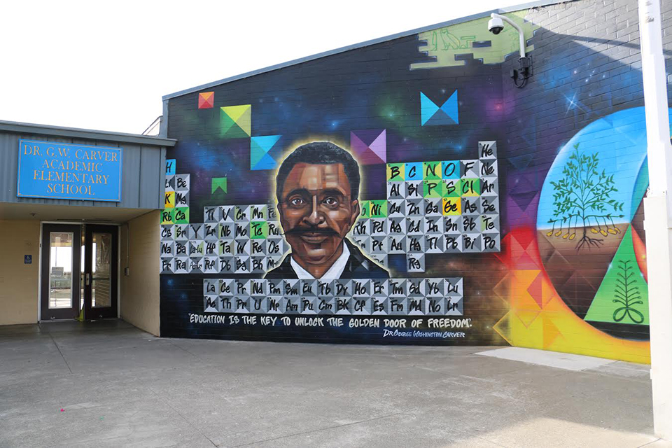 San francisco bay view g w carver academic elementary for Elementary school mural