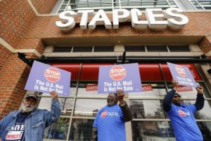 Postal-workers-protest-outside-Staples-300x200, 'The US Mail is not for sale': Union victory over Staples and postal privatization, National News & Views