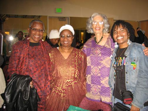 Geri-Abrams-Carol-Afua-Makinya-Kouate-Wanda-Sabir-Umoja-Youth-Uprising-122608-web, Honoring Sister Makinya Sibeko-Kouate, Queen Mother of Kwanzaa, who brought Black Studies to the East Bay, Culture Currents