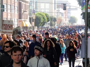 Martin-Luther-King-Day-marching-crowd-largely-white-011617-by-Adilifu-Fundi-300x225, Baron Davis and SF King Day address next four chilling years, but ex-NBA star misses room's 'huge elephant', Local News & Views