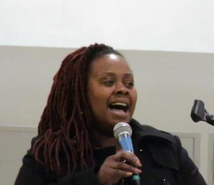 Auntie-April'-Spears-sings-to-conclude-community-townhall-for-new-Chief-Scott-at-Joe-Lee-Gym-030917-300x260, Chief William Scott, SF's new Black police chief, meets the community, Local News & Views
