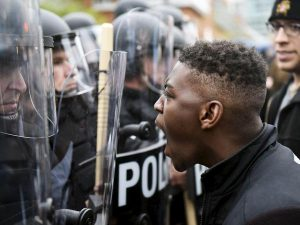 Baltimore-Freddie-Gray-Black-youth-shouts-at-cops-nose-to-nose-042715-300x225, 'The public peace': Race, class, control and the creation of the modern police in antebellum Baltimore, National News & Views
