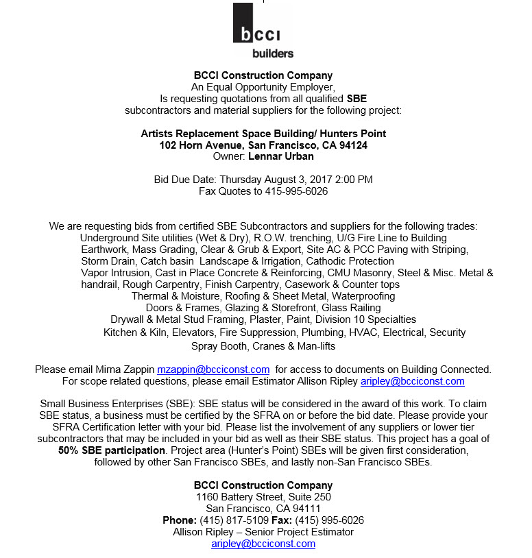 BCCI-071217, BCCI Builders seeks bids from SBE subcontractors & suppliers for new Artists Building at Hunters Point Shipyard, Invitations to Bid
