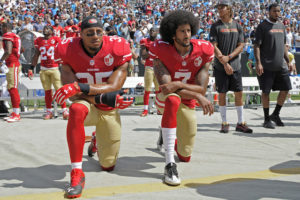 Eric-Reid-Colin-Kaepernick-kneel-during-national-anthem-49ers-game-091816-by-Mike-McCarn-AP-300x200, Protests supporting Colin Kaepernick planned for NFL's first week, Culture Currents
