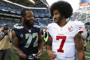 Michael-Bennett-Colin-Kaepernick-talk-after-game-092516-by-Ted-S.-Warren-AP-300x200, Protests supporting Colin Kaepernick planned for NFL's first week, Culture Currents