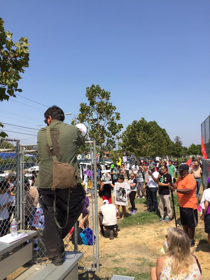 Millions-for-Prisoners-San-Jose-marchers-listen-to-Heshimas-recorded-speech-before-marching-081917-by-Nube-Brown, Millions for Prisoners Human Rights: Marchers in DC and San Jose demand abolition of slavery, National News & Views