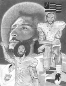 Salute-to-Colin-Kaepernick-art-by-Kevin-Brown-Mason-AX-0565-web-230x300, Colin Kaepernick salutes Fred Hampton, as NFL continues to snub him, National News & Views