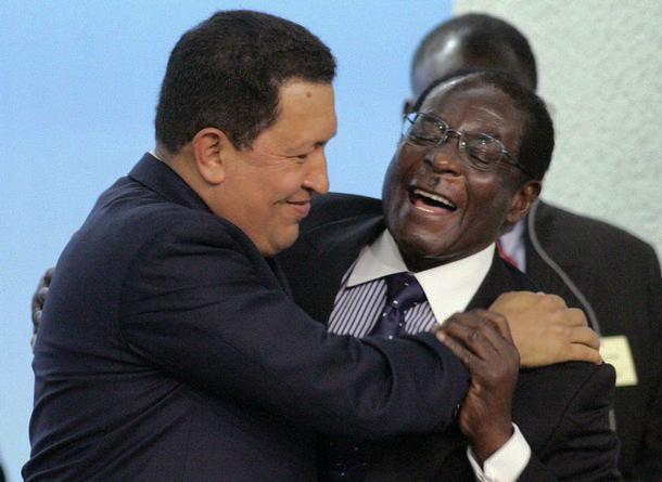 Hugo-Chavez-Robert-Mugabe-embrace-2004, Expressing gratitude, Culture Currents