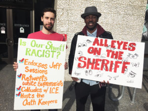 Protest-Alameda-Cty-Sheriff-Ahern-Is-our-sheriff-racist-112117-web-300x225, Community members rally to demand audit of Alameda County Sheriff Gregory Ahern, Local News & Views