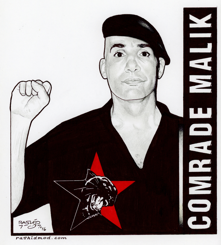 Comrade-Malik-art-by-Rashid-1116-web, Mentally ill prisoner, ignored and neglected, commits suicide in solitary confinement at Eastham Ad-Seg Unit, Behind Enemy Lines