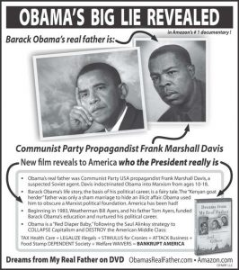 Obamas-Big-Lie-Revealed-real-father-is-Frank-Marshall-Davis-full-page-ad-in-NY-Post-0912-web-266x300, Journalist, poet Frank Marshall Davis (1905-1987) fought fascism to cure the disease of American racism, Culture Currents
