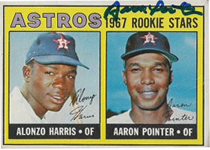 Aaron-Pointer-autographed-baseball-card-Astros-1967-w-Alonzo-Harris, Aaron Pointer, McClymonds grad, star of major league baseball, denied MLB pension, Culture Currents