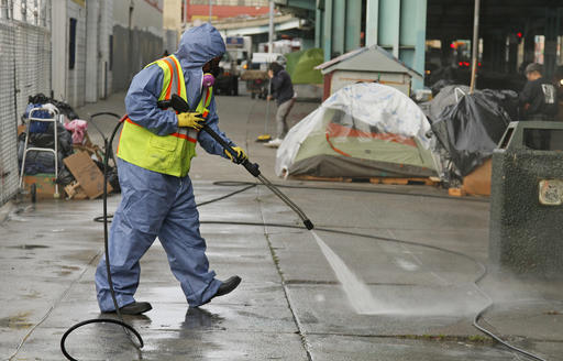 City-power-washing-sidewalk-around-homeless-encampment-by-PNN, I am the 'homeless problem': The case for the Homeless4Mayor Campaign in San Francisco, Local News & Views