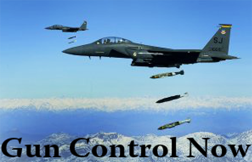 Gun-Control-Now-meme-w-bomber-dropping-bombs, March for our lives and the rest of the world's, National News & Views