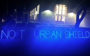 No-to-Urban-Shield'-Bay-Area-Light-Brigade-display-outside-Berkeley-City-Council-121715-300x187, Victory over military cop convention, Local News & Views