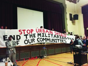 Berkeley-Urban-Shield-Council-vote-banner-unfurled-protesters-take-stage-062017-by-Ashley-Wong-East-Bay-Express-300x225, Victory over military cop convention, Local News & Views