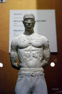OMCAs-RESPECT-Hip-Hop-Style-and-Wisdom-Nijel-Binns-Tupac-Maquette-032418-by-Eric-Murphy-199x300, Wanda's Picks April 2018, Culture Currents