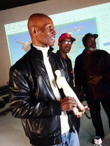 OMCAs-RESPECT-Hip-Hop-Style-and-Wisdom-Nijel-Binns-sculptor-Dwayne-Wiggins-Andre-Alporter-Mother-of-Humanity-032418-by-Wanda-web-225x300, Wanda's Picks April 2018, Culture Currents