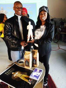 OMCAs-RESPECT-Hip-Hop-Style-and-Wisdom-Nijel-Binns-sculptor-Mis-Little-friend-of-Tupac-032418-by-Wanda-web-225x300, Wanda's Picks April 2018, Culture Currents