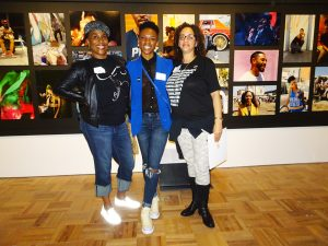 OMCAs-RESPECT-Hip-Hop-Style-and-Wisdom-Traci-Bartlow-Amanda-Sade-Mystic-in-front-of-Amandas-work-Tracis-collages-at-left-032418-by-Wanda-web-300x225, Wanda's Picks April 2018, Culture Currents