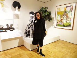 OMCAs-RESPECT-Hip-Hop-Style-and-Wisdom-consulting-curator-Susan-Barrett-in-front-of-her-work-032418-by-Wanda-web-300x225, Wanda's Picks April 2018, Culture Currents