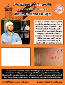 The-Shadow-of-Lucasville-flier-for-screening-0418-web-231x300, Lucasville Rebellion, longest prison 'riot' in history, began 25 years ago, on April 11, 1993, Behind Enemy Lines