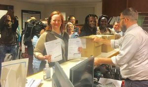 Coalition-on-Homelessness-submits-28000-ballot-measure-signatures-Kristen-Evans-Emmet-House-Jacquelynn-Evans-070918-300x176, 'You wash us away, but we're still here': Homeless funding initiative headed for November ballot, Local News & Views