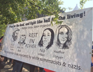 Nia-Wilson-one-of-victims-of-white-supremacists-on-Seattle-protest-banner-081818-by-Liberation-News-web-1-300x234, Anti-fascists outnumber, outlast and drown out Patriot Prayer, Proud Boys in Seattle, National News & Views