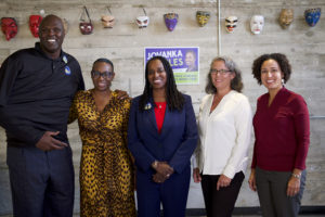 Adonal-Foyle-Nina-Turner-Jovanka-Beckles-primary-rivals-Judy-Appel-Rochelle-Pardue-Okimoto-at-Four-Warriors-for-the-People-rally-at-MLK-Middle-School-Berkeley-092218-by-Luke-Thibault-web-300x200, Jovanka vs. Buffy: In Assembly District 15 race, it's a choice between local roots and outside money, Local News & Views