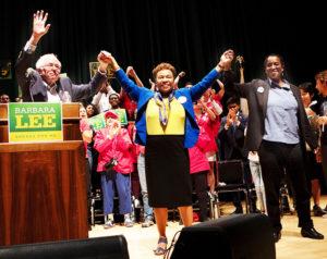 Bernie-Sanders-Barbara-Lee-Jovanka-Beckles-at-Berkeley-Comm'y-Theater-102718-by-Luke-Thibault-web-300x238, Bernie Sanders endorses Jovanka, Local News & Views