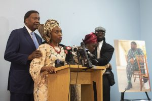 John-Burris-comforts-Ebele-Okobi-at-press-conference-following-memorial-service-for-Chinedu-Okobi-SF-Christian-Center-101618-by-David-Rodriguez-SF-Examiner-300x200, Chinedu Okobi, unarmed Black father, tased to death by San Mateo County sheriffs, Local News & Views
