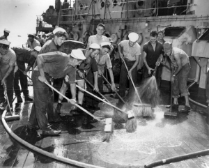 Sailors-wash-deck-of-captured-German-battleship-USS-Prinz-Eugene-so-radioactive-it-was-later-sunk-by-NARA-300x241, New reports show the entire Hunters Point Shipyard, one of the most toxic sites in the US, is likely to be radioactively contaminated, Local News & Views