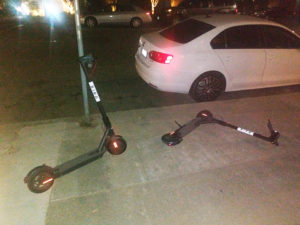 Scooters-haphazard-on-sidewalk-at-night-by-Kheven-LaGrone-web-300x225, San Francisco's new 'Us v. Them', Local News & Views