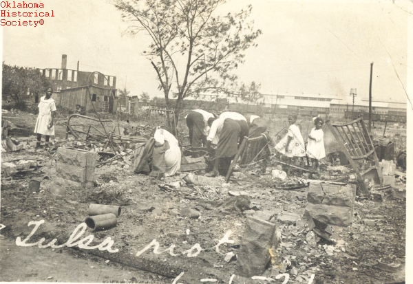 By the time the National Guard arrived and Governor Robertson had declared martial law, the riot had effectively ended. In the aftermath of the massacre, Black residents were left to sort through the rubble for survivors and belongings. Though guardsmen helped put out fires, they also imprisoned many Black Tulsans, and by June 2 some 6,000 people were under armed guard at the local fairgrounds.