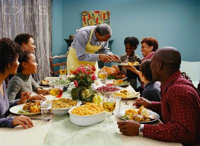 Family Eating Thanksgiving Dinner   San Francisco Bay View