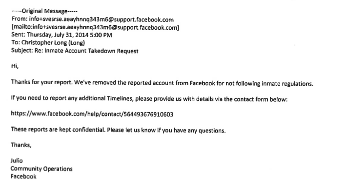 Bay Email Of Facebook Confirming Page Takedown San Francisco 073114 View Prisoner