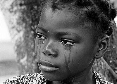 Black girl crying during
