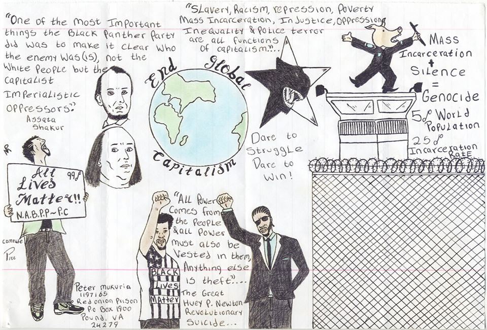 End-Global-Capitalism-art-by-Peter-Murkuria-web, Erasing the line: The organic link between the struggles of the working class, Amerika's prison population and Black Amerika, Behind Enemy Lines