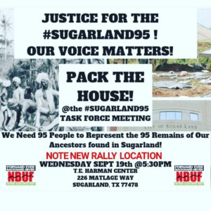 Justice-for-the-Sugarland95'-flier-for-091918-Sugar-Land-Task-Force-meeting-calling-for-95-reps-300x300, The Sugar Land 95: Help us protect the sacred burial ground of our ancestors in Texas, National News & Views