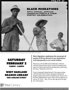 Black-Migrations-flier-for-Wandas-poetry-celebration-West-Oakland-Library-020219-web-231x300, Wanda's Picks for January 2019, Culture Currents