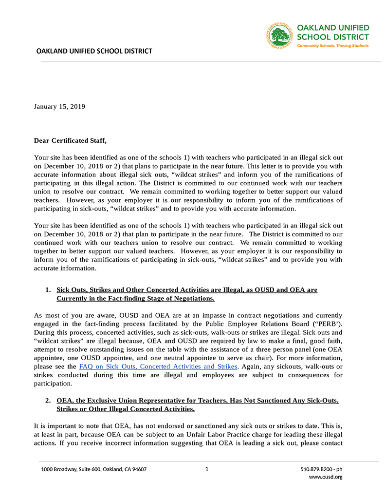 OUSD-letter-threatening-teachers-re-sick-out-011519-1-2, Fremont High teachers call another OUSD sick-out, Local News & Views