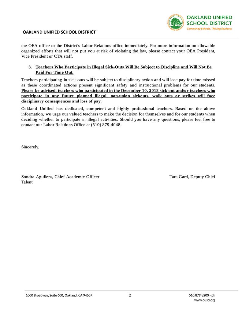 OUSD-letter-threatening-teachers-re-sick-out-011519-2, Fremont High teachers call another OUSD sick-out, Local News & Views