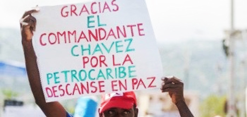Thank-you-Commandante-Chavez-for-PetroCaribe.-Rest-in-peace'-sign-in-Haitian-Kreole-held-by-protester-0219, As U.S. intervention germinates in Venezuela, we must not forget the implications for Haiti, World News & Views