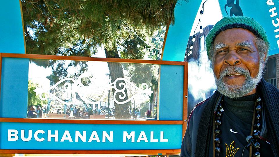 Eugene-E.-White-at-Buchanan-Mall, Beloved artist Eugene E. White passes, Culture Currents