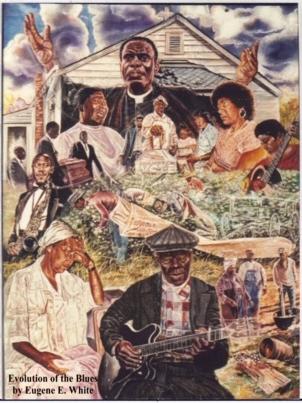 Evolution-of-the-Blues-art-by-Eugene-E.-White, Beloved artist Eugene E. White passes, Culture Currents