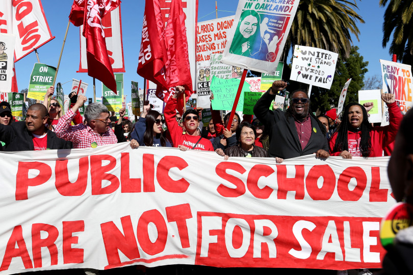 Oakland-Teacher-Strike-Day-2-Dolores-Huerta-United-Farm-Workers-Keith-Brown-pres.-OEA-lead-march-Adeline-Street-from-Bobby-Hutton-Park-022219-by-Ray-Chavez-Bay-Area-News-Group, Reflections of an Oakland Unified School District teacher on strike – Day 2, Local News & Views