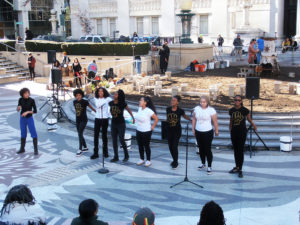 Young-Gifted-Black-perform-on-MLK-Day-weapon-melting-Lead-to-LIFE-machine-at-back-Oakland-City-Hall-012119-by-Jahahara-web-300x225, Celebrating Alkebulan: African love, Black joy, resistance and futures!, Culture Currents