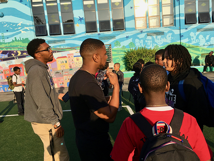 Kevin-Williams-Stephren-Ragler-talk-with-kids-in-Bret-Harte-Elem-yard-0119-by-Lee-Romney-web, How can San Francisco support its most vulnerable Black residents? Help them succeed at school, Local News & Views